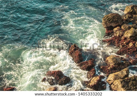 Ocean landscape, seawater with waves, rocks in the Canary Islands #1405333202