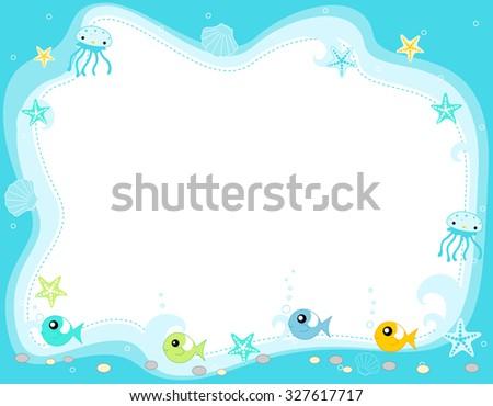 Ocean life, marine life border with cute fish , jellyfish, star fish and seashells illustration