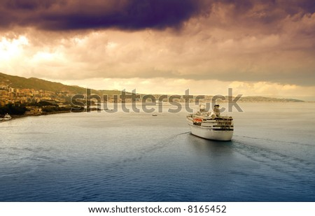 Ocean liner with dramatic sky