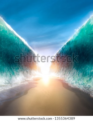 ocean opening up to form a canal, inspired by the bible event of moses parting the red sea. / photo composite.
