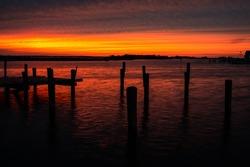 Ocean peer sunset at dusk