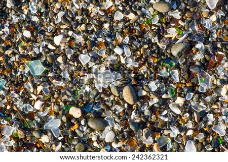 ocean polished glass shards and ...