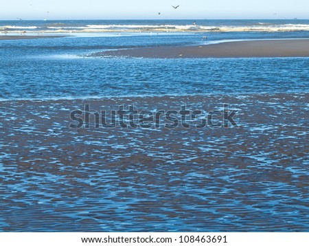 Ocean Ripples in Shallow Water with Waves in the Background