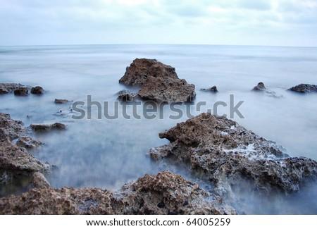 ocean rocks long exposure
