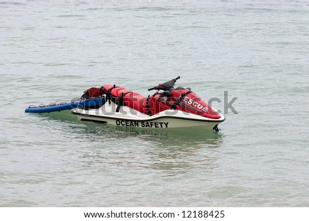 Ocean Safety Jetski sitting in the water