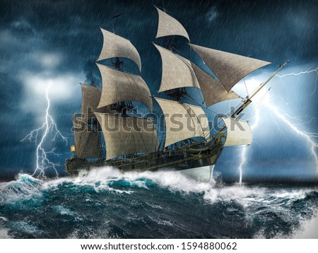 Ocean sailing ship in distress, struggling to stay afloat, in a heavy storm with big waves and lightning, 3d render painting Stockfoto ©