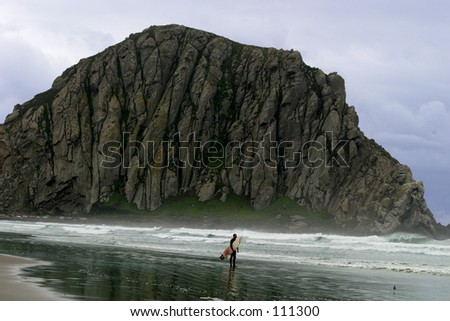 Ocean scene with lone surfer.