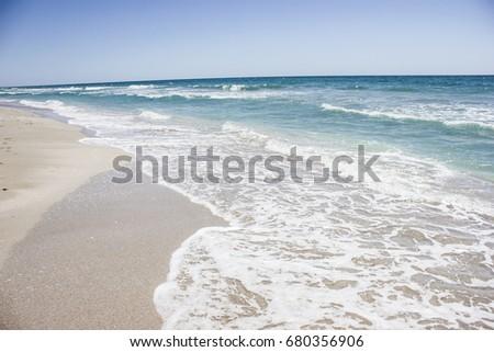 Ocean sea background nature  blue ocean travel background, tropical summer beach #680356906