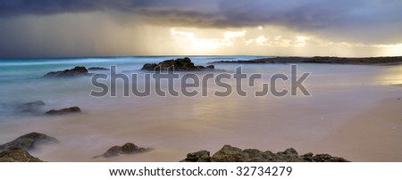 Ocean storm at sunrise