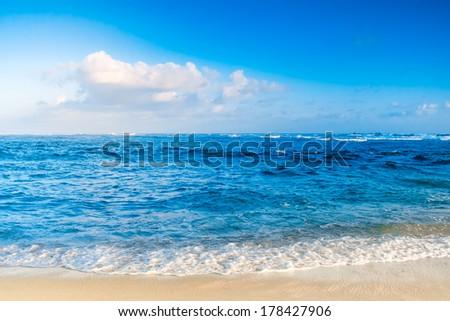 ocean sunset. blue sky and...
