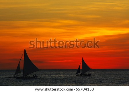Ocean sunset landscape in Boracay, Philippines