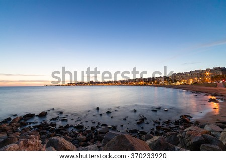 Shutterstock Ocean Sunset over the beach of Montevideo, Uruguay.  A stunning capital city in South America
