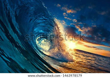 Ocean Sunset Wave, clear water in Tropical sea colorful background #1463978579