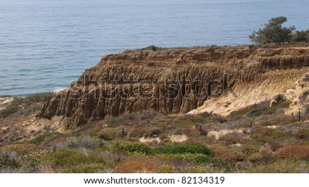 Ocean view and geology, Razor Point, San Diego County, California
