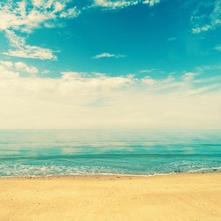Ocean view from beach with retro look
