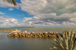 Ocean View With Palm Trees and Rocks and Beautiful Clouds in the Keys, Florida, USA