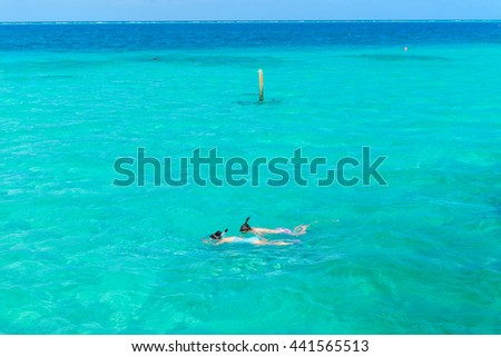 ocean villas in Maldives ,beach background for summer travel with sun ,norkeling in the blue sea Stok fotoğraf ©