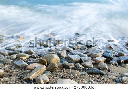 Ocean Water Beach Pebbles Shoreline Landscape Blue
