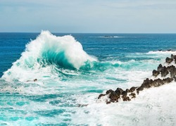 Ocean wave background breaking sea water rocky shore rough seas turquoise water gradient foam, Porto Moniz Madeira