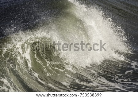 Ocean wave breaking toward shore in the Outer Banks of North Carolina, USA #753538399