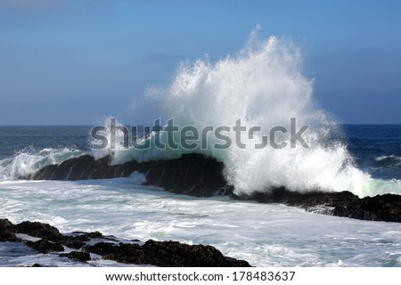 Ocean wave crashing into a rock on the coastline in South Africa