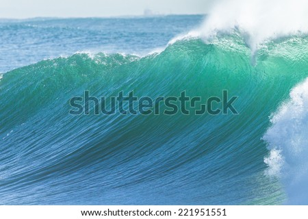 Ocean Wave  Ocean wave large hollow crashing breaking closeup detail of water power