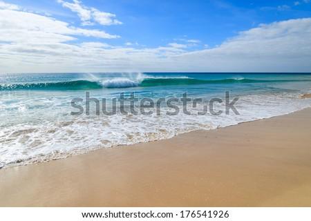Ocean wave on Morro Jable sandy beach on Jandia peninsula, Fuerteventura, Canary Islands, Spain #176541926