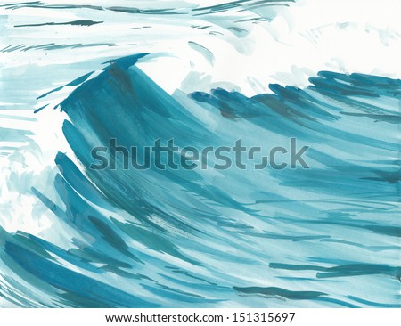 ocean wave watercolor