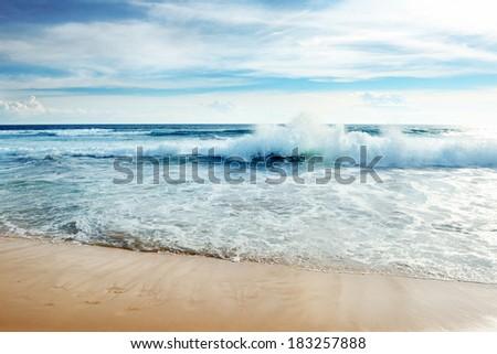 Ocean waves and blue sky                                     #183257888