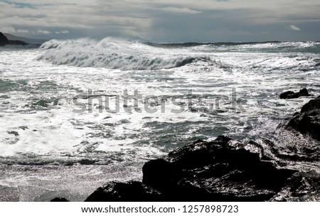 ocean waves breaking natural background #1257898723