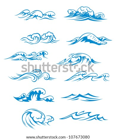 Ocean waves set isolated on white background, such a logo. Vector version also available in gallery