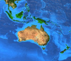 Oceania map - Australasia, Polynesia, Melanesia, Micronesia region. Detailed satellite view of the Earth and its landforms. Elements of this image furnished by NASA
