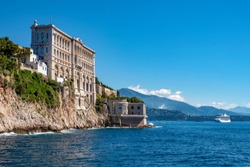 Oceanographic Museum of Monaco on a sunny day, French Riviera