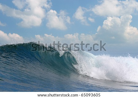 oceanview rough white blue ocean wave falling down