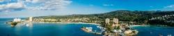 Och Rios Jamaica Bay Panoramic. Ocho Rios bay, Jamaica panoramic shot from the bay.