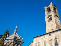Octagonal baptistery of Basilica of Santa Maria Maggiore in Citta Alta, Bergamo, Italy. Historical architecture and medieval church of Old town or Upper City in Bergamo.