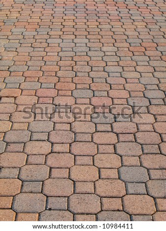 octagonal brick pavement with perspective