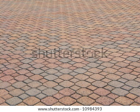 octagonal brick paving with perspective