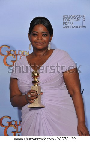Octavia Spencer at the 69th Golden Globe Awards at the Beverly Hilton Hotel. January 15, 2012  Beverly Hills, CA Picture: Paul Smith / Featureflash - stock photo