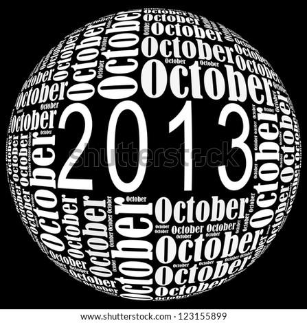 October 2013 info-text graphics arrangement on black background