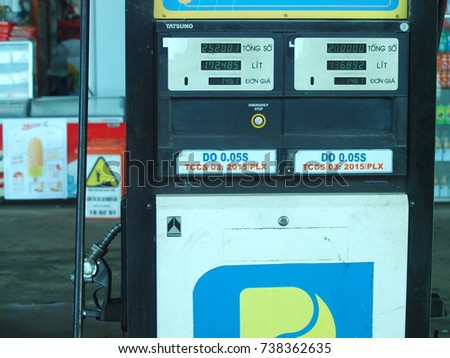 October 12, 2017 inside gasoline station and services in VIETNAM under the national brand picture shows a gas station with contemporary digital gauge meter   #738362635