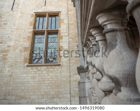October 2018 - Mechelen, Belgium: Architectural detail of the 16th century Palace of Margaret of Austria in the city center ストックフォト ©