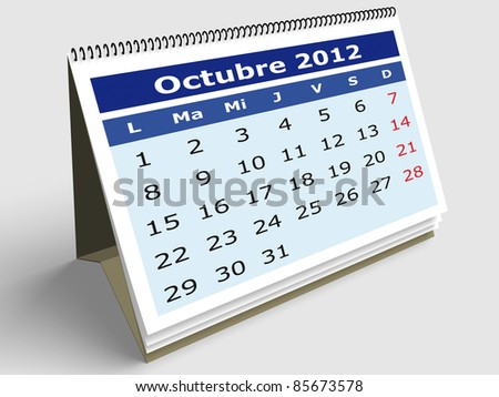 October month in Spanish. 2012 Calendar. 3d render