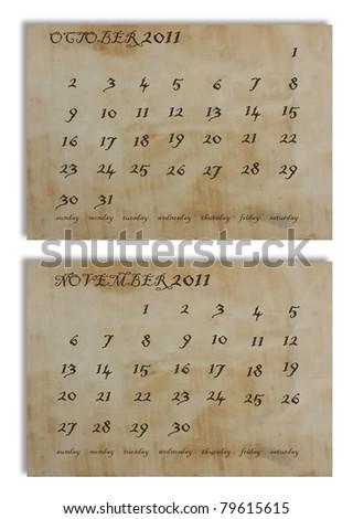 OCTOBER NOVEMBER 2011 calendar on old paper background