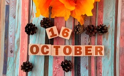 October 16.October 16 on wooden cubes.Cones ,beautiful autumn leaves on a multi-colored wooden background.Autumn.Calendar for October.