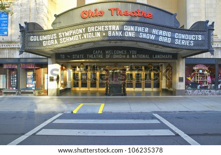 OCTOBER 2004 - Ohio Theater marquee theater sign advertising Columbus Symphony Orchestra in downtown Columbus, OH