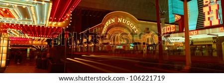 OCTOBER 2004 - Panoramic view of Golden Nugget Casino and neon sign in Las Vegas, NV