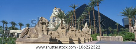 OCTOBER 2004 - Panoramic view of Luxor Hotel with Pyramid and Sphinx, Casino in Las Vegas, NV