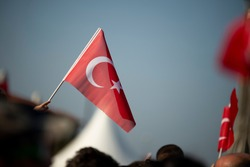 October 29 Republic day of Turkey. Crowded people in the square of Gundogdu and Turkish flags in crowded people.