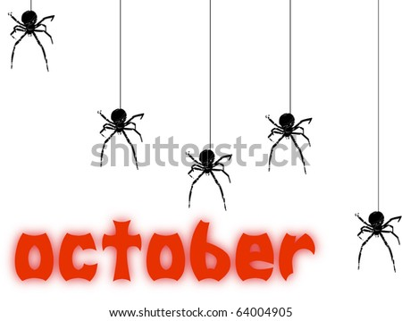 October text with a little spiders on white background. Abstract illustration #64004905